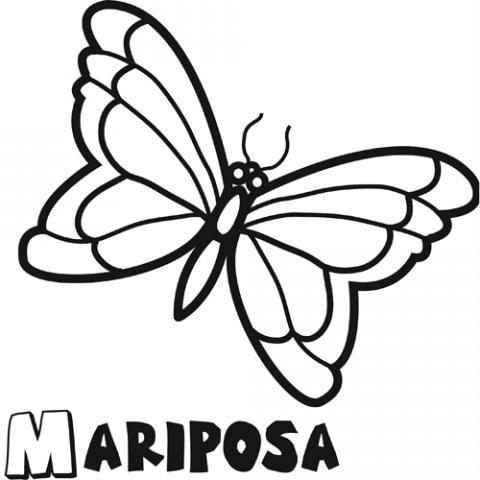 Dibujo infantil de mariposa para colorear