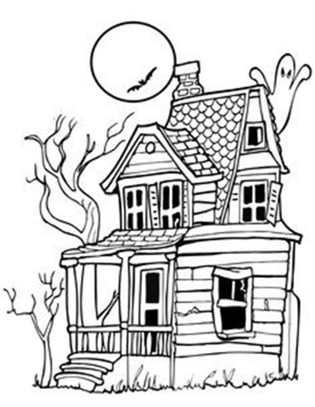dibujos de halloween para colorear casas