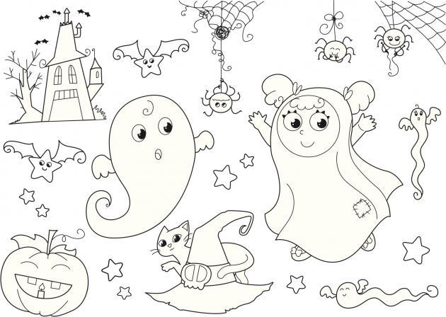 dibujos de halloween para colorear de miedo faciles
