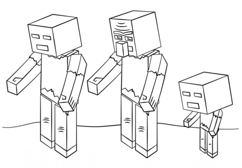 Dibujo de Zombies de Minecraft para colorear