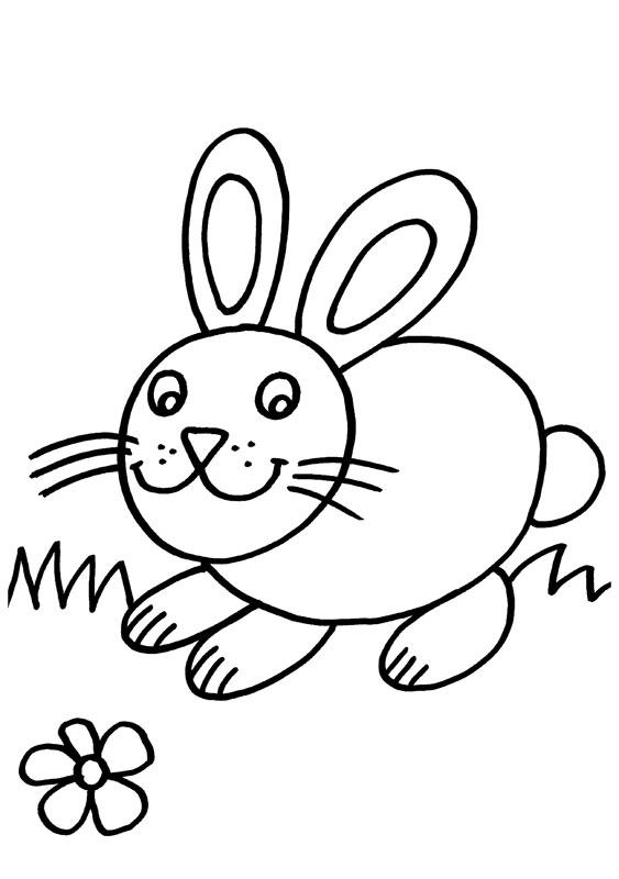 Dibujo para colorear de un conejo corriendo hacia una flor