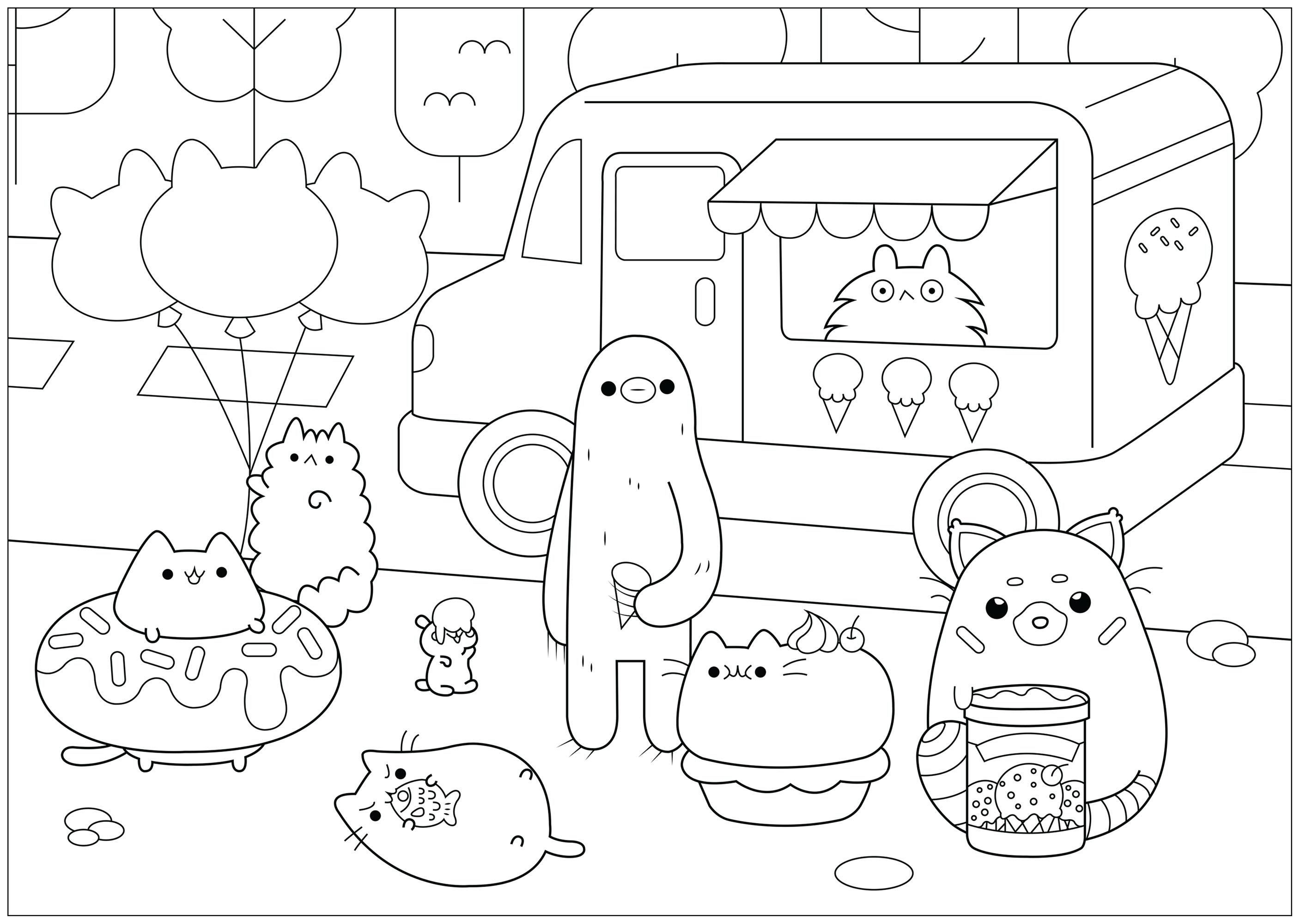 Dibujos De Pusheen 🐈 Para Colorear