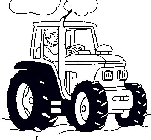 Dibujo de Tractor en funcionamiento para colorear123