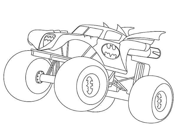 Dibujo para colorear Batman Monster Truck Páginas para colorear