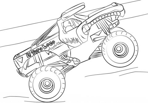El Toro Loco Monster Truck Dibujo para colorear