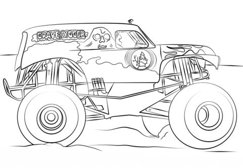Grave Digger Monster Truck Dibujo para colorear