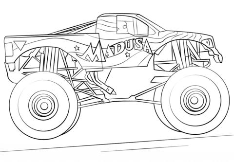 Madusa Monster Truck Dibujo para colorear