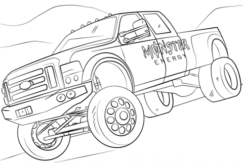 Monster Energy Monster Truck Dibujo para colorear