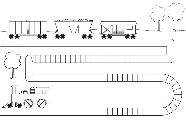 Tren con vagones dibujo para colorear