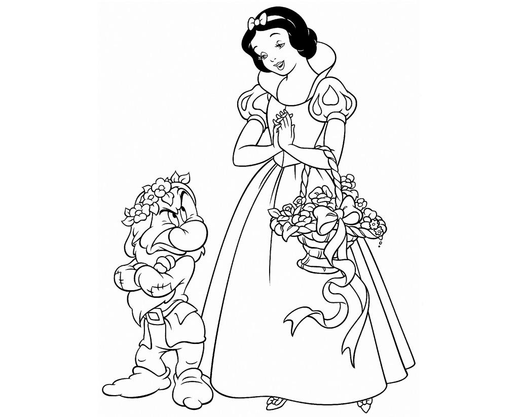 Princesa Blancanieves para colorear