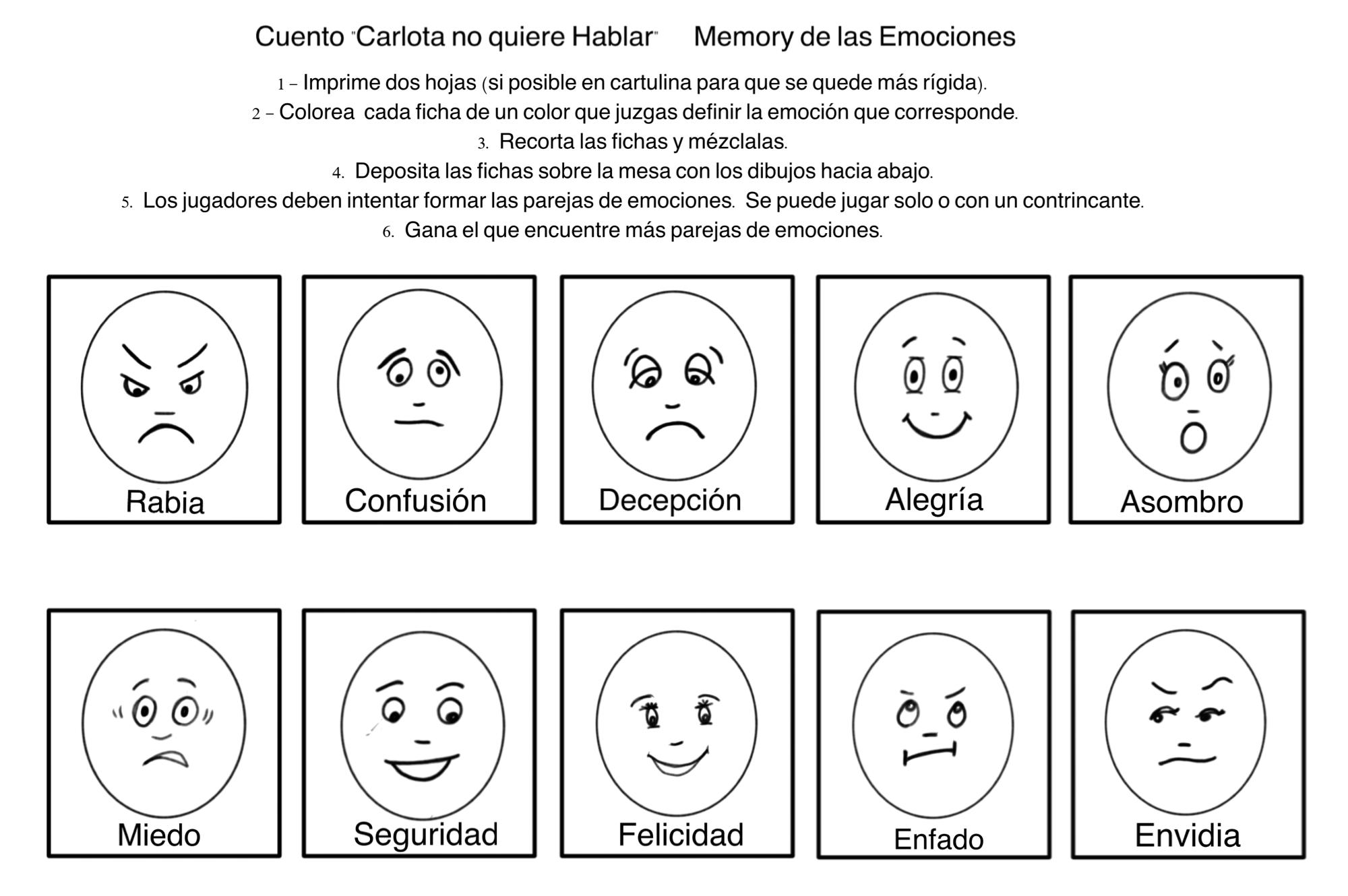 Para Niños De Dibujos Animados Caras Diferentes: Dibujos De Emociones 😂 Para Colorear