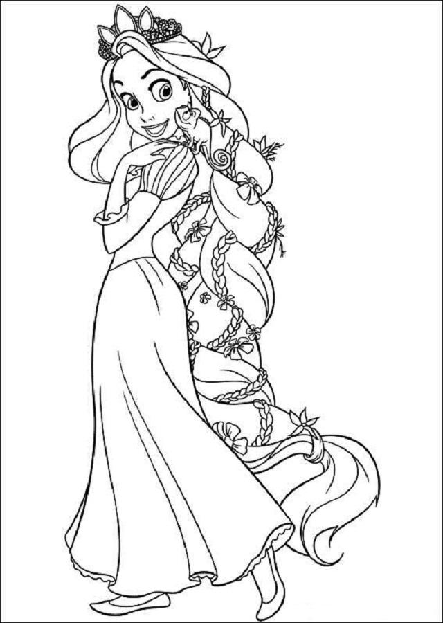 rapunzel para colorear dibujos 01