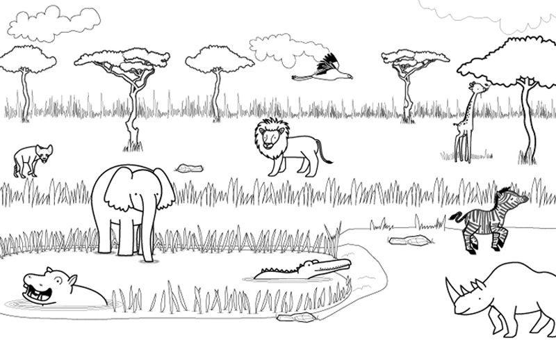 Animales de la sabana dibujo para colorear e imprimir