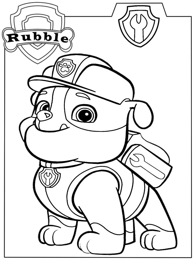 Descargamos dibujos para colorear PAW Patrol Rubble