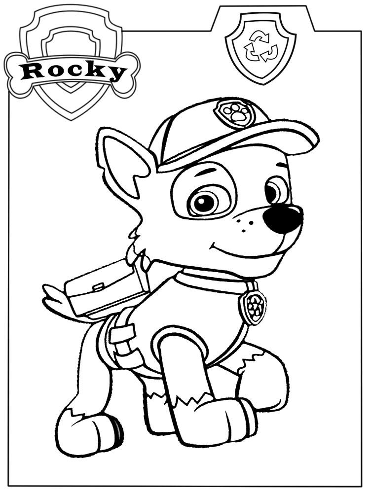 Descargar gratis dibujos para colorear PAW Patrol Rocky