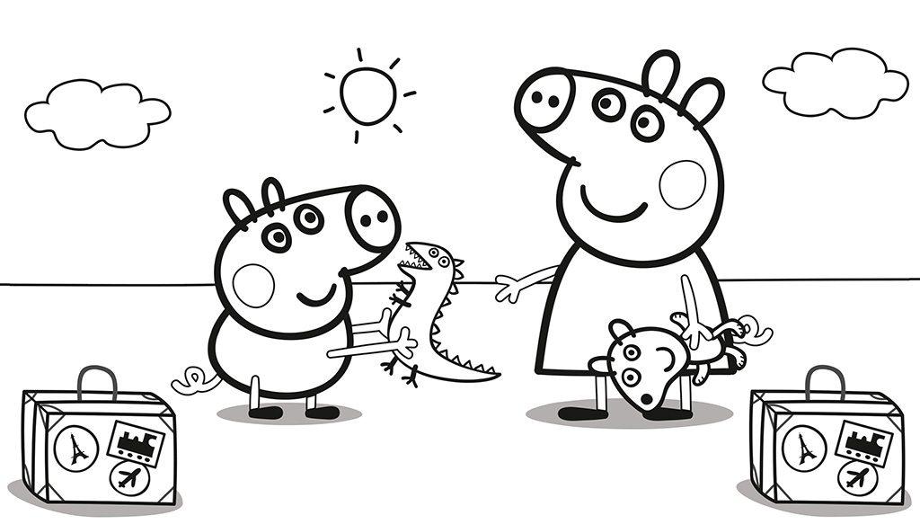 Dibujo Peppa Pig de vacaciones para colorear e1549941174208