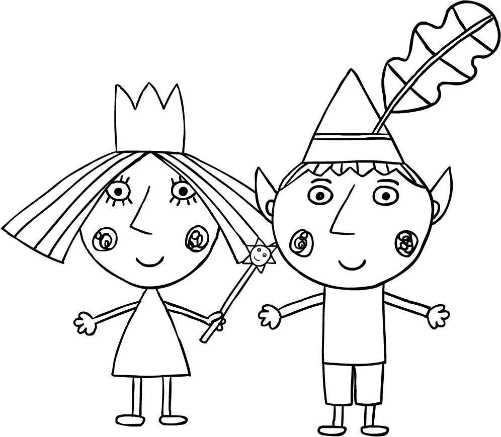 Dibujo de Ben y Holly para imprimir y colorear