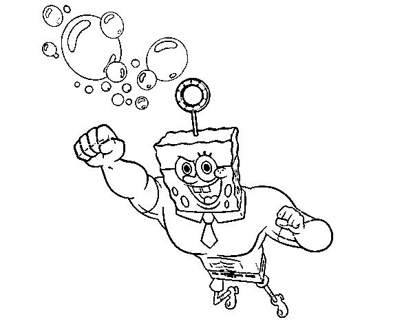 Dibujo de Bob Esponja La burbuja invencible al ataque para Colorear