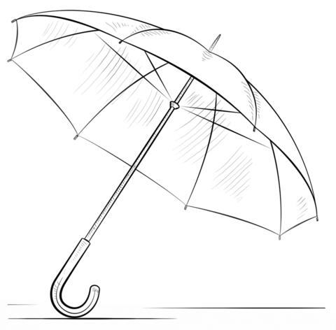 Dibujo de Paraguas para colorear y pintar