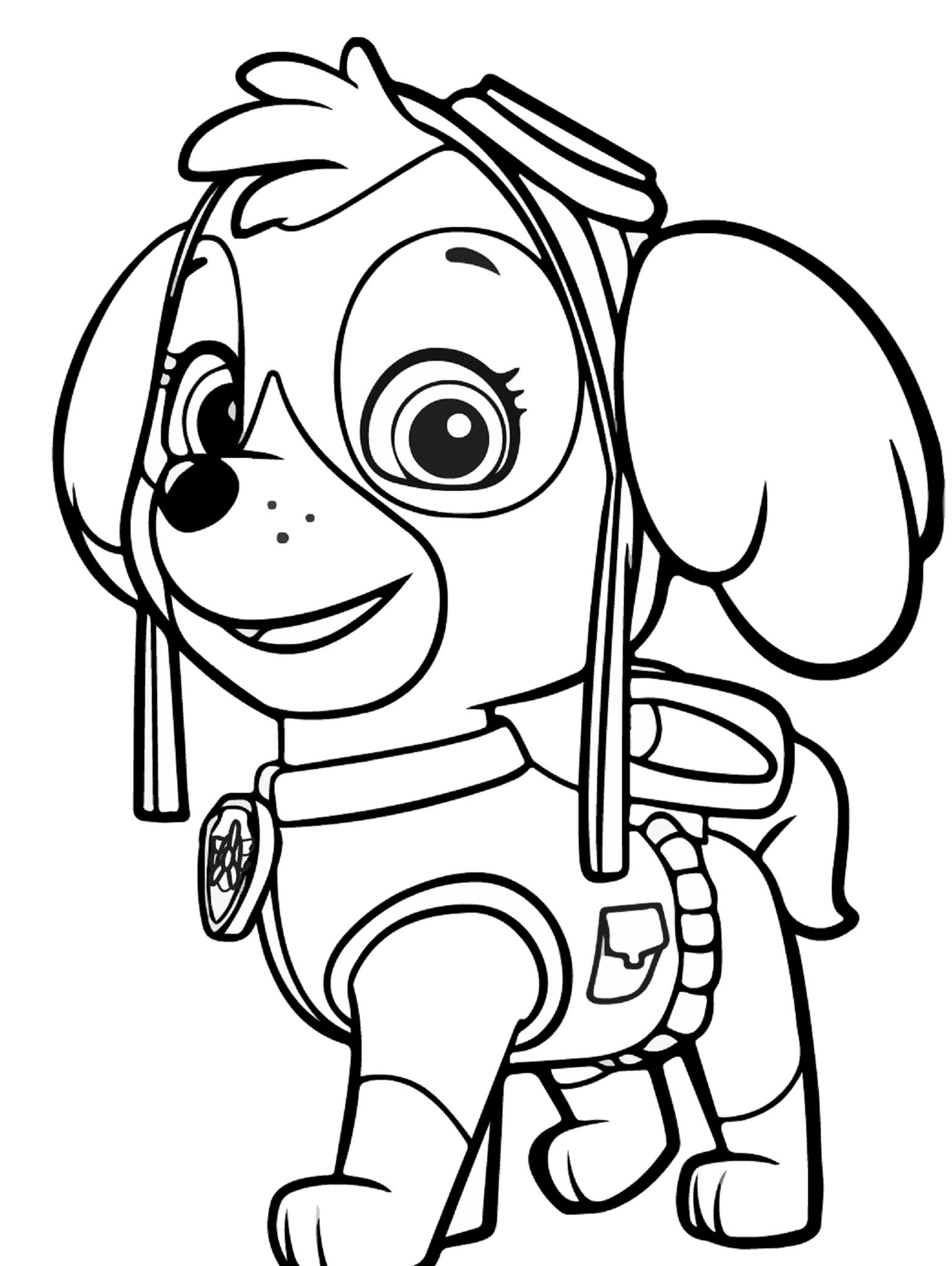 Dibujo de Paw Patrol Skye para colorear e1549494271500