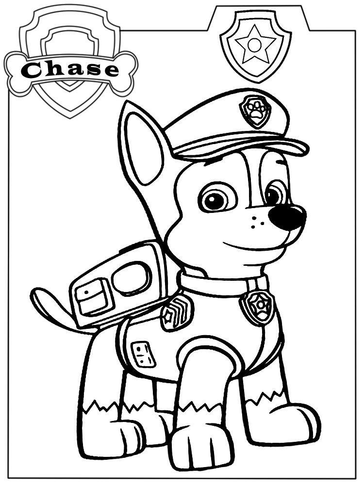 Dibujos de Paw Patrol Chase Para Colorear