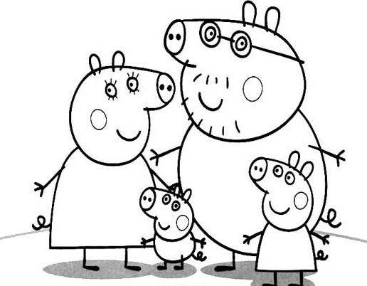 Dibujos de Peppa Pig para colorear familie e1549941201120