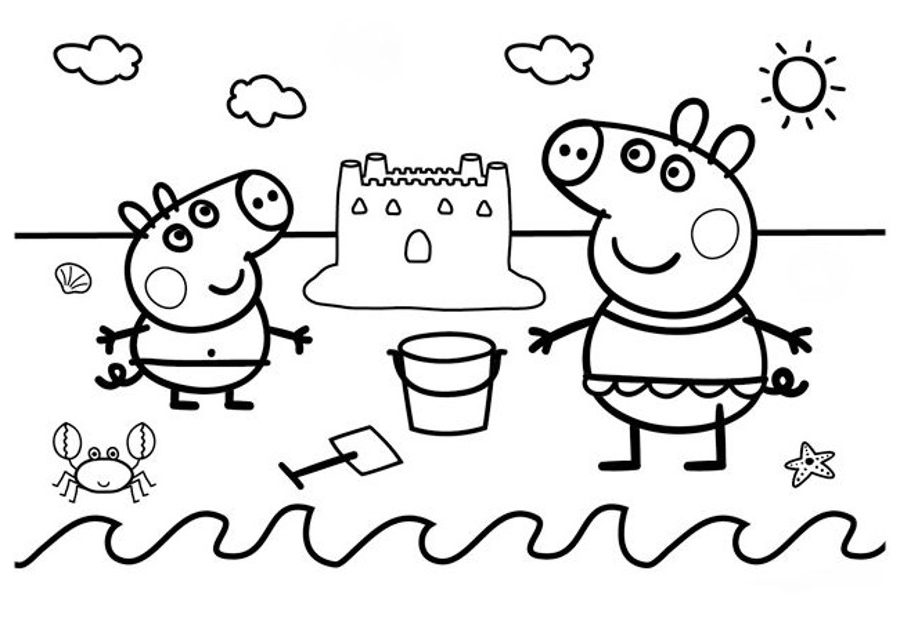 Dibujos para colorear de Peppa Pig en verano e1549941263448