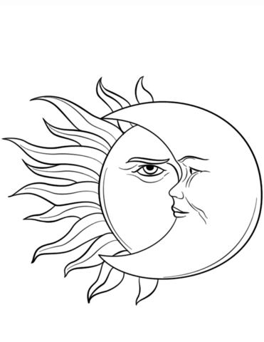 El Sol y la Luna Dibujo para colorear e1550008027997