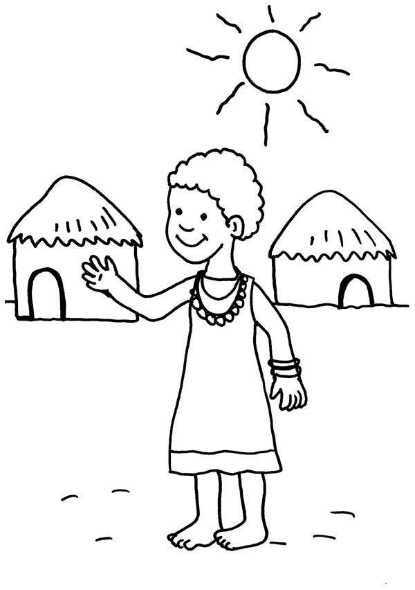 Niños de Africa dibujo para colorear e imprimir e1550714937721