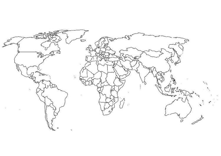 Dibujo para colorear Mapa del mundo